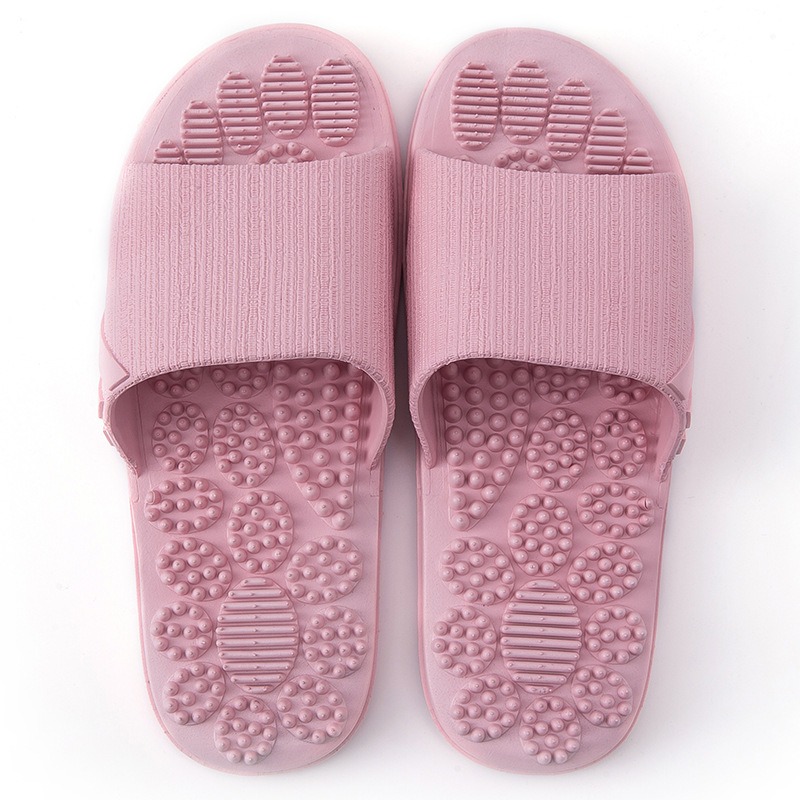 Летние тапочки; коллекция года; домашняя Нескользящая Массажная обувь; унисекс; однотонные тапочки с мягкой подошвой; домашние сандалии; мужские массажные тапочки - Цвет: Pink