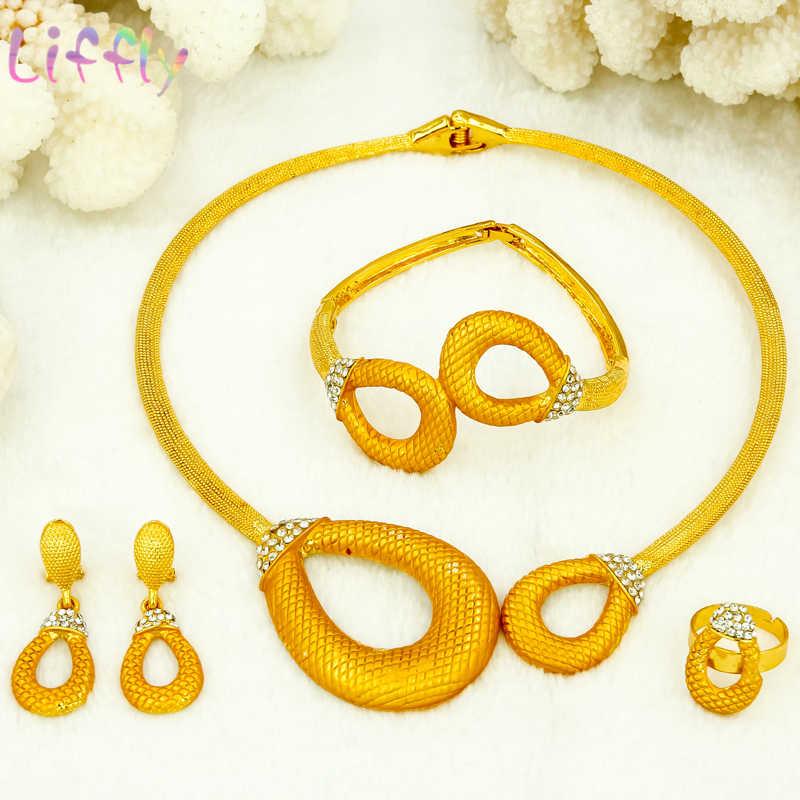 Hochzeit Schmuck-Sets für Braut Runde Halskette Ohrringe Ring Armband Dubai Schmuck Sets Klassische Kristall Runde Schmuck