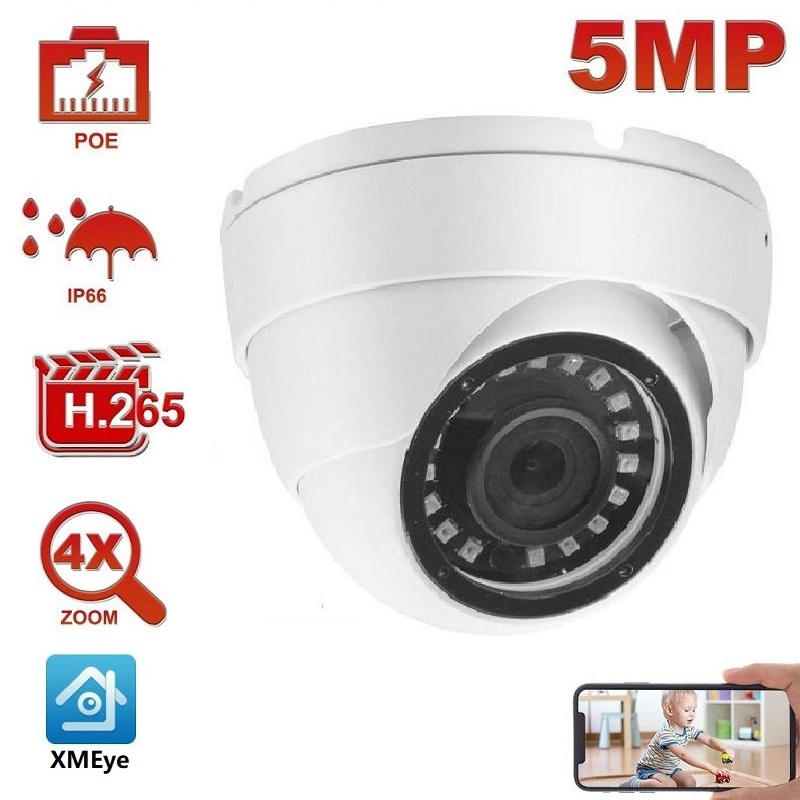 2MP 5MP POE IP Security Camera Outdoor Onvif H.265 Turret Dome IR 30m P2P Plug&play with NVR 5MP POE PTZ Camera Outdoor
