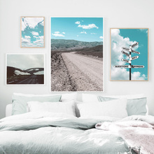 Blue Sky Clouds Pointing Target Landscape Wall Art Canvas Painting Nordic Posters And Prints Pictures For Living Room Decor