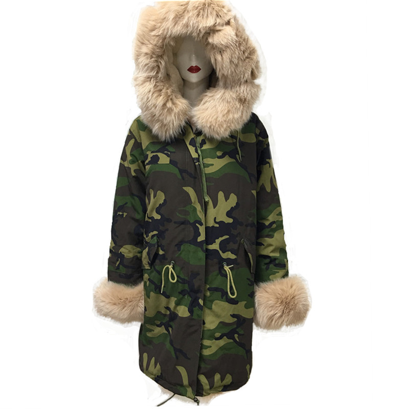 Camouflage Green Parka Men Style Apricot Fox Fur Collar New Jacket Tartan Fox Fur And Faux Fur Lining Long Coat