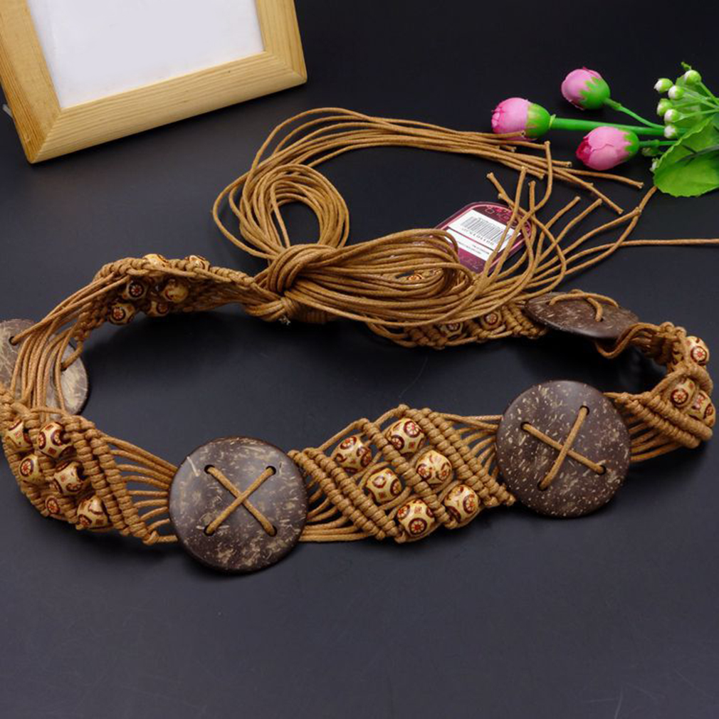 2019 Creative Wax Rope Hand-woven Women's Belts Lady Bohemian Woven Rope Knot Cummerbund Waist Strap Female Cloting Accessories