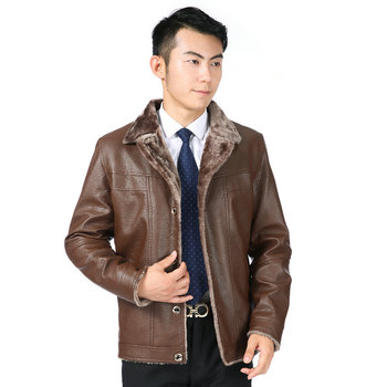 Men Winter PU Leather Bomber Jackets Black Brown Thicken Woollen Fabric Liner Coats Man Notched Collar Thick Warm Outerwear New