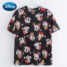 Disney Fashion Mickey Mouse Donald Daisy Duck Vrolijk Kerstfeest Cartoon Print Vrouwen T-shirt O-hals Trui Korte Mouw Tee Top(China)