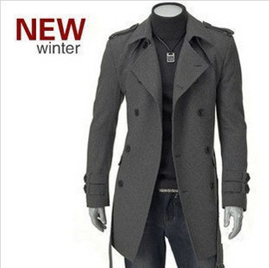 Dunhuang Hot Selling Autumn And Winter Men's Korean-style Overcoat Fashion Trench Coat Epaulet Mid-length Double Breasted Duffle