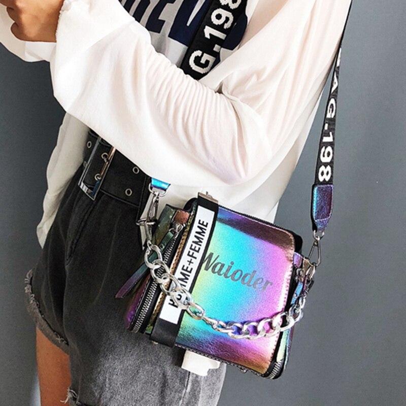 Adisputent Women Chain PU Single Shoulder Bag Letter Printing Messenger Beach Bag Letter Wide Belt Handbags Casual Bucket Bag