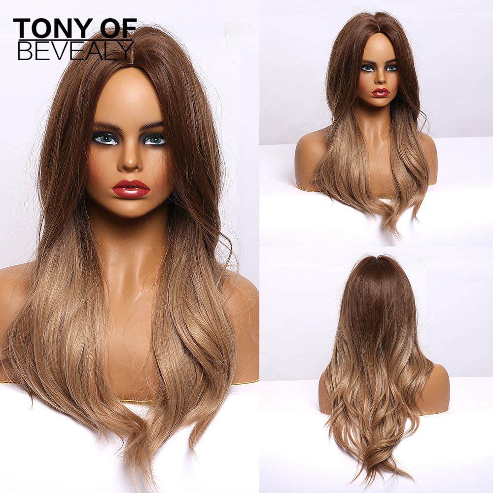 Long Wavy Light Brown Synthetic Wigs Middle Part For Afro Women Daily Cosplay Natural Hair Wigs Heat Resistant Fiber Wigs