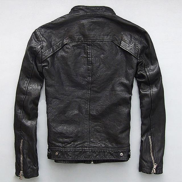 Men Leather Jacket Genuine Real Sheep Goat Skin Brand Black Male Bomber Motorcycle Biker Man's Coat Autumn Spring Clothes  zlg88 2