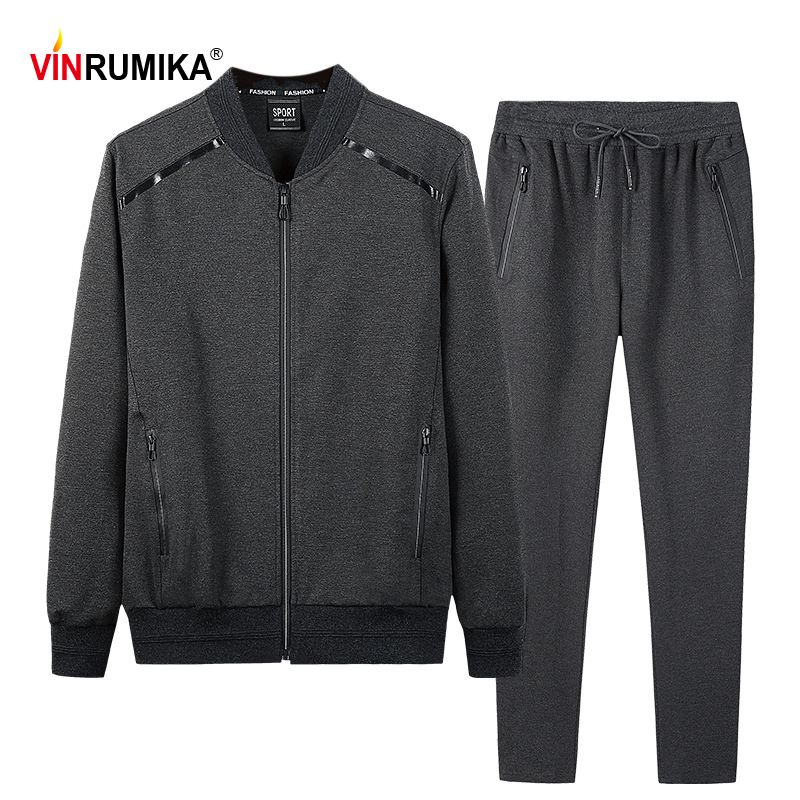 Spring Autumn Sportswear Set Men's Large Size Casual Sports Cotton Gray Jackets Man Black Loose Hooded Coat Trousers 7XL 8XL 9XL
