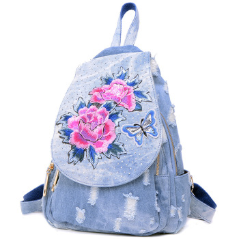 F013 European and American Women's Bag 2019 New Fashion Spring and Summer Ethnic Denim Canvas Embroidered Ladies Backpack
