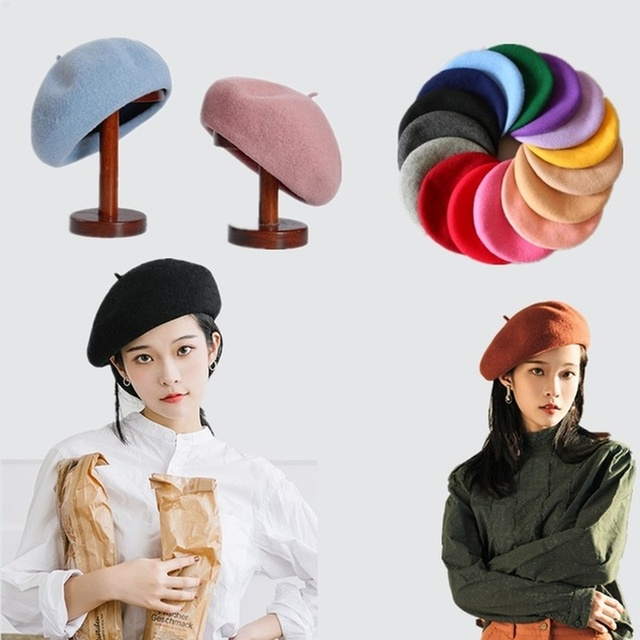 French Style Solid Casual Vintage Beret Plain Wool Warm Winter Caps