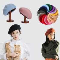 French Style Solid Casual Vintage Women's Hat Beret Plain Cap Girl's Wool Warm Winter Berets Beanie Hats Femme Aldult Caps
