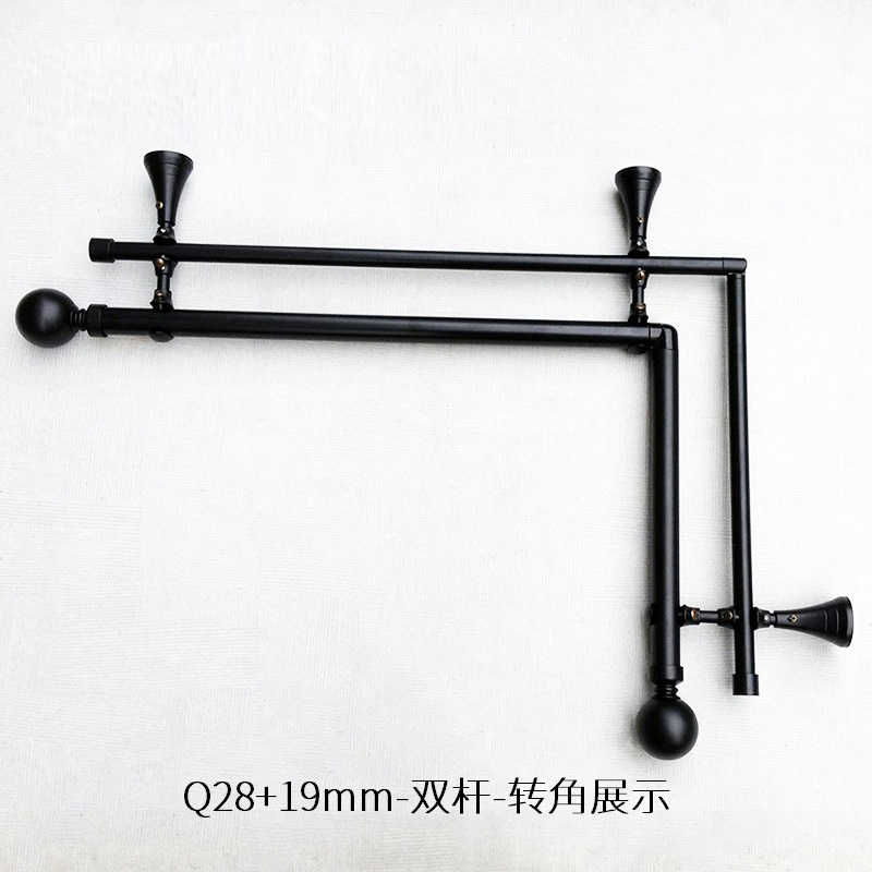 factory direct selling roman pole turning 90 degree activity corner matching 28mm 19mm double rod matte black curtain pole