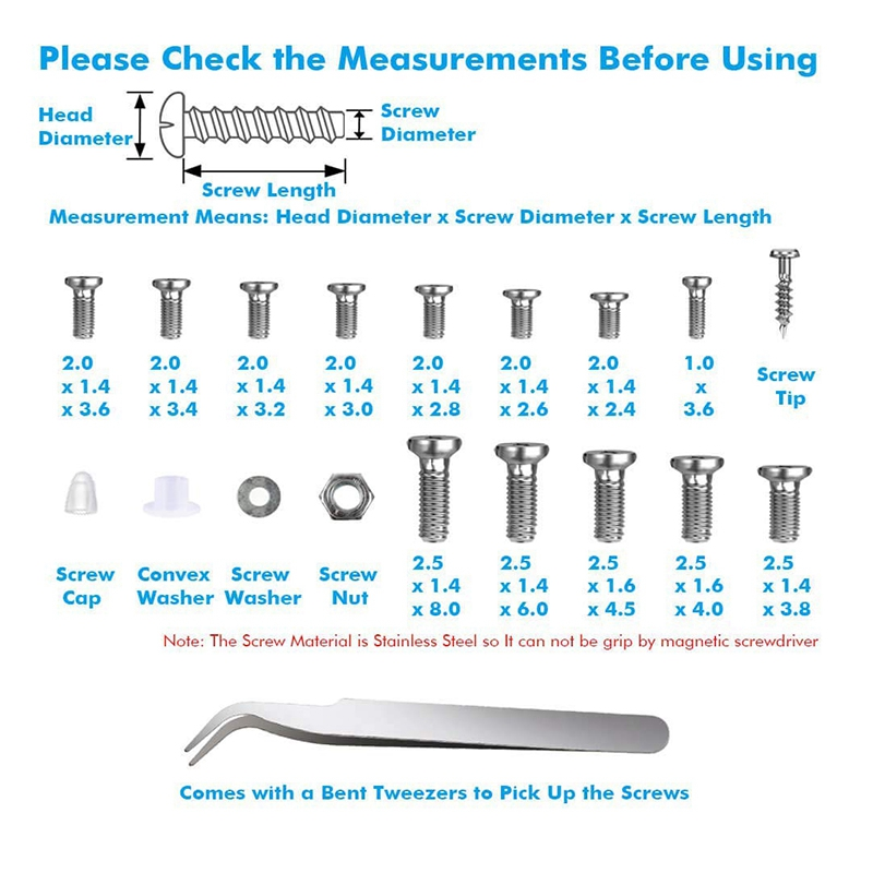 1000pcs Assortiment De Vis Pour Montre Lunettes De Vue Horloger Réparation.F/_dy