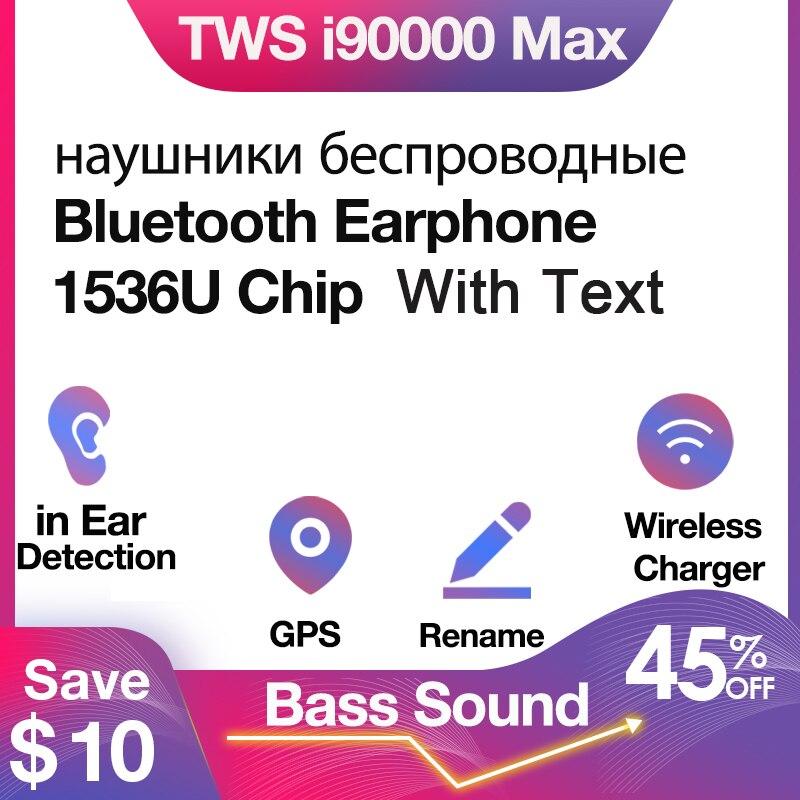 Оригинальные беспроводные Bluetooth-наушники i90000 MAX Tws с текстовым именем, GPS-наушники 8D Super Bass 1536U PK i5000 i50000 i9000 TWS