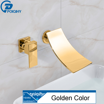 POIQIHY Wall Mounted Waterfall Basin Faucet Chrome/Black Bronze washbasin faucet crane Dual Holes Hot Cold Water Sink Mixer Tap 7