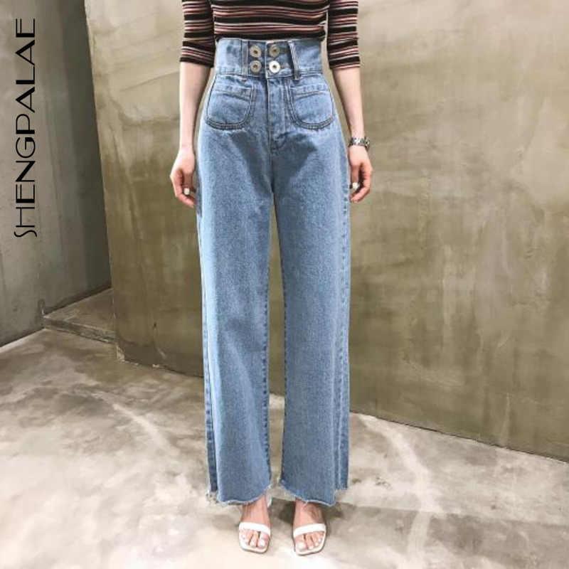 Shengpalae 2020 Nueva Moda Primavera Pantalones Mujer Solido Bolsillos Sueltos Pantalones Rectos De Calle Casual Marea Jeans Mujer A121 Pantalones Vaqueros Aliexpress