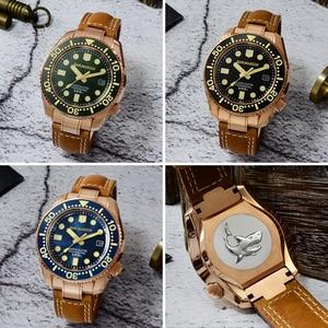 Image 2 - סן מרטין ברונזה צלילה שעון עסקי קלאסיקות אוטומטי גברים מכאני שעונים עור 300m מים עמיד זוהר Relojes