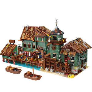 New Street View Boat Hous Diner Shipyard Dock Restaurant Old Fishing Store Captain's Wharf Building Block Set