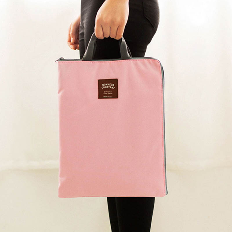 A4 Canvas Portable Zipper Double Layer File Bag Student Document Bag Organizer Convenient Folder School Office Stationery Supply