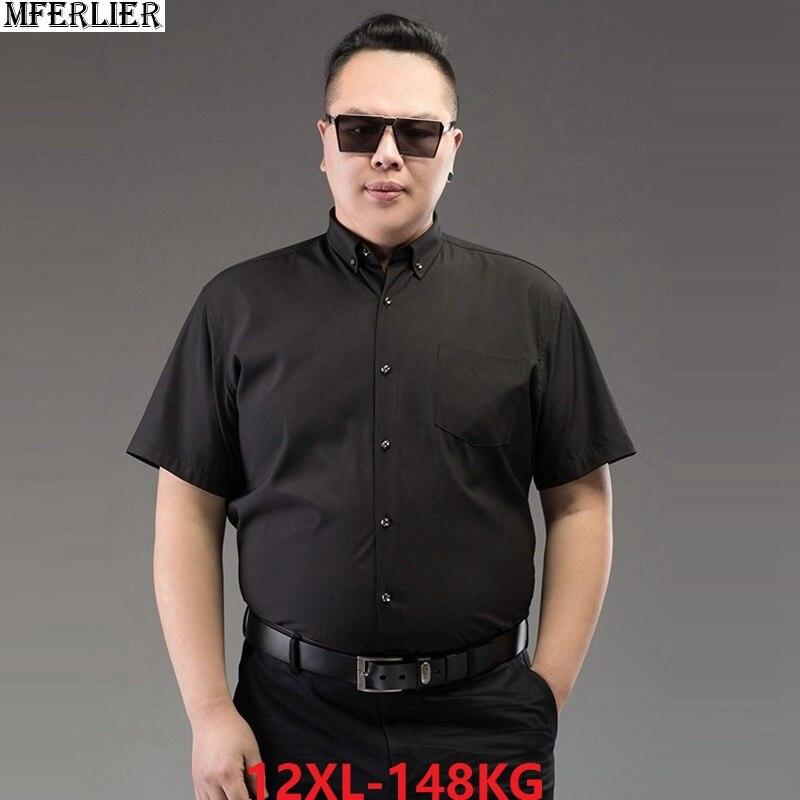 Summer Plus Size Shirts 8XL Men Short Sleeve Dress Shirts Business Formal Big Size 9XL 10XL 11XL 12XL Office Shirts Black 60 64