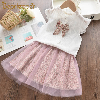 Bear Leader Girls Dresses Summer New Fashion Clothes for Kid 3-7 Years Lovely Bow-knot Lace Outfits Print Mesh Dress Kid Clothes girls floral print bow back mesh overlay dress