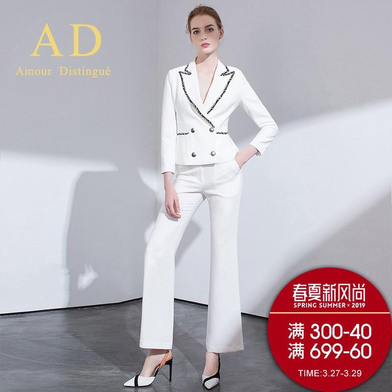 Women's Office Suits Set Professional Female Business Lady Suit Plus Size White Blazer Sequin Designer Tailor 2019 Free Ship