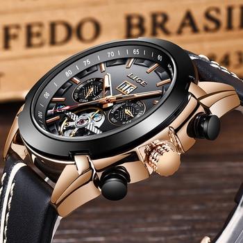Men Watches LIGE Luxury Automatic Mechanical Watch Japanese Movement Male Leather Waterproof Sport Watch Business Men Wristwatch