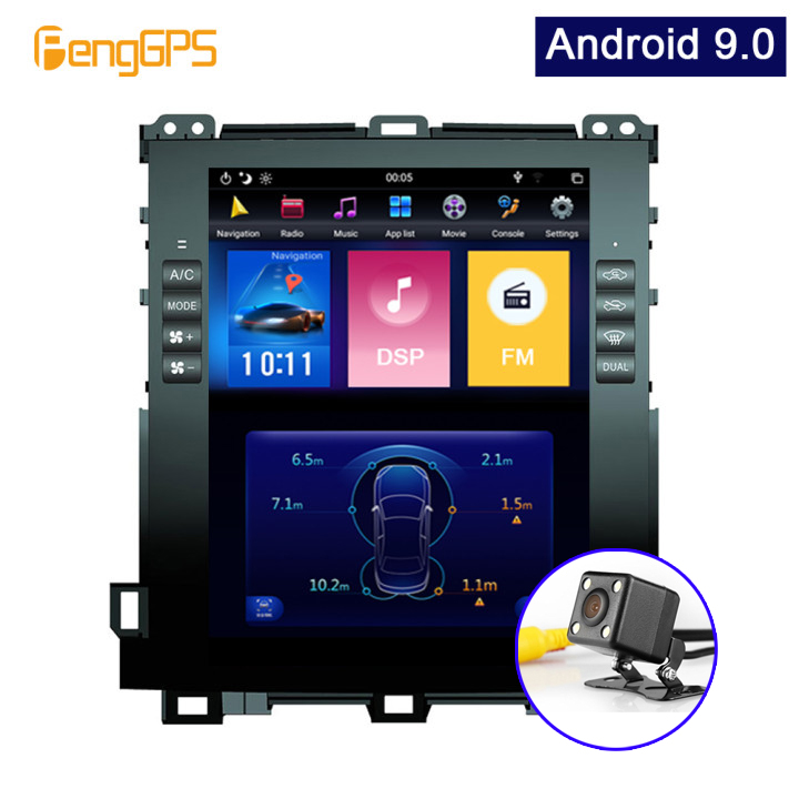 Android 9.0 Car GPS Navigation DVD Player For Toyota Land Cruiser Prado 120 2002-2009/ Lexus GX470 Tesla Style 10.4