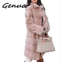 Genuo New 2019 Winter Thicken Warm Artificial Mink Faux Fur Coat Women Fashion Slim Solid Color Nine Quarter Faux Fur Jacket