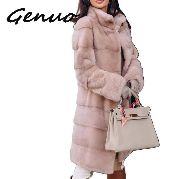 Winter Elegant Thicken Warm Artificial Mink Long Faux Fur Coat Women Fashion Slim Solid Color Fur Jacket Plus Size Women Coat