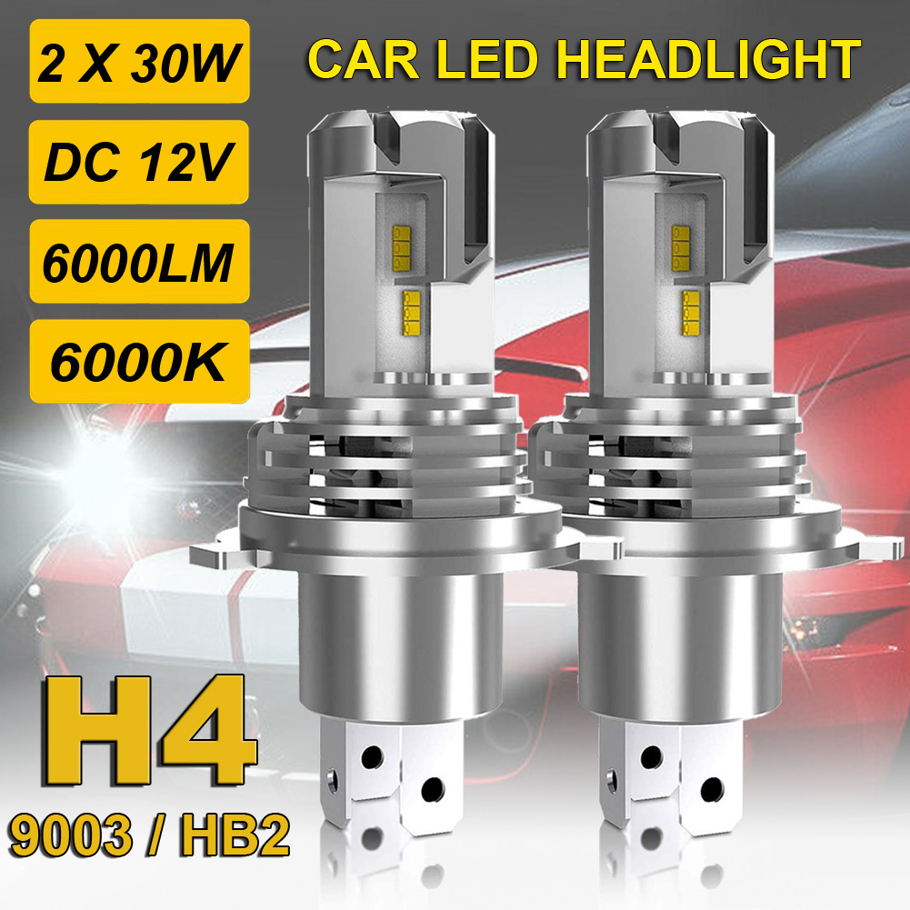2 PCS <font><b>LED</b></font> <font><b>H4</b></font> HB2 9003 Car <font><b>LED</b></font> <font><b>Headlight</b></font> Bulbs Car <font><b>LED</b></font> <font><b>Headlight</b></font> Bulbs 60W <font><b>6000LM</b></font> 6000K White High Low Beam Waterproof Auto Light image