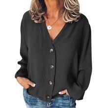 цены на Shirt Plain Women Blouse Casual Party Sexy Daily Long Sleeve V Neck Loose Tops Spring Summer Buttons Chiffon  в интернет-магазинах