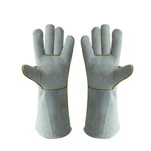 1 Pair Welders Gloves PU Leather Gardening Welding Wood Stove Work Gloves Heat Resistant