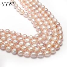 9-10mm Cultured Potato Freshwater Pearl Beads Loose Rice Pearls Jewelry Making Bracelets Necklace Earrings Purple 0.8mm 14 Inch