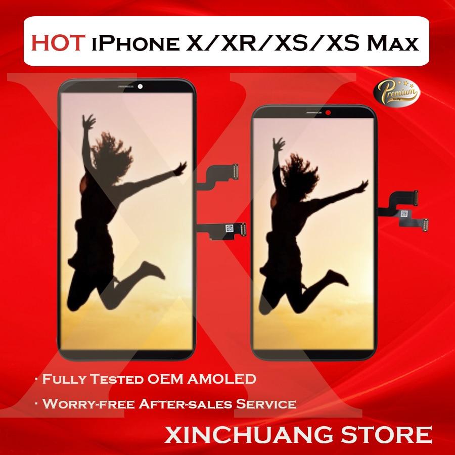 ЖК-дисплей для iPhone X XR XS MAX, сменный OLED-дисплей с сенсорным 3D экраном, True Tone, без битых пикселей, с инструментами, оригинальное качество