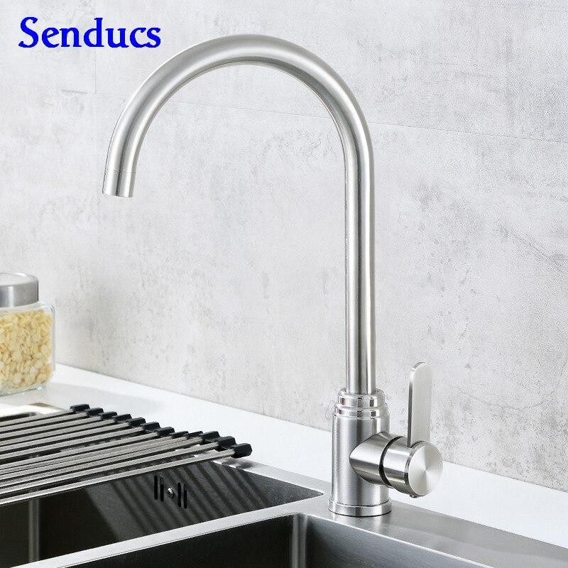 Kitchen Faucet Senducs Brushed Kitchen Sink Faucet Quality SUS304 Stainless Steel Kitchen Faucet Hot Cold Kitchen Mixer Tap