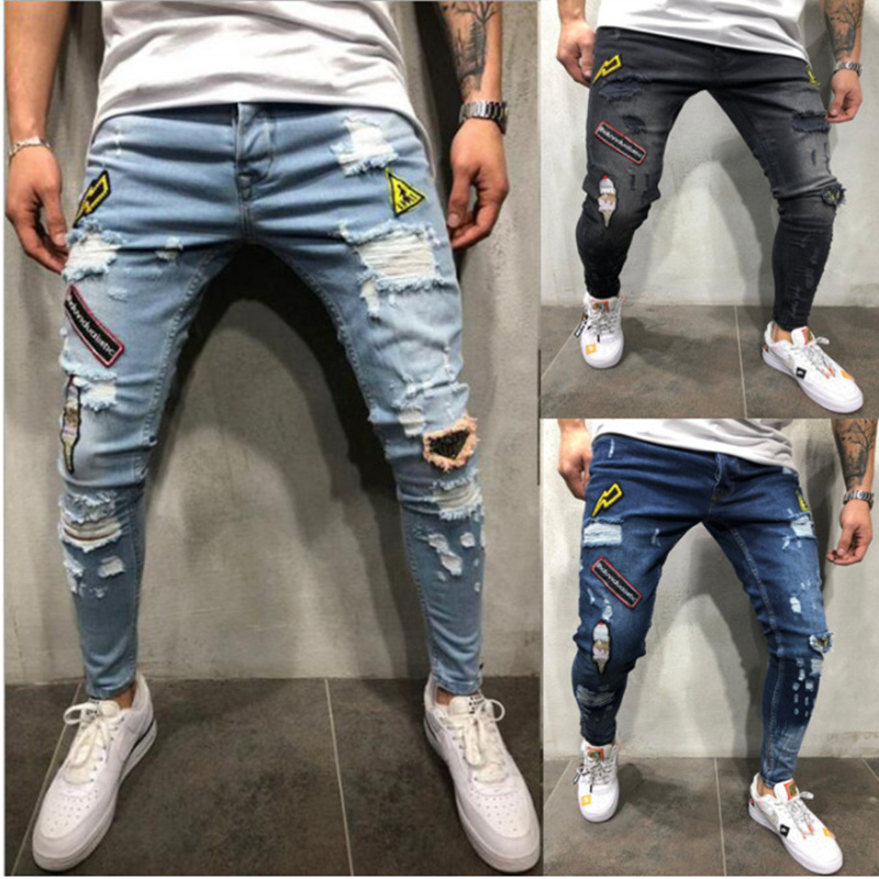 3 Styles Men Ripped Skinny Biker Jeans Destroyed Frayed Print Embroidery Slim Fit Denim Pant Jean Plus Size 3XL