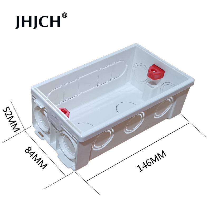 JHJCH 146 Type Mounting Back Box Adjustable Internal Cassette Junction Box For 146*86mm Wall Switch and Socket ,White