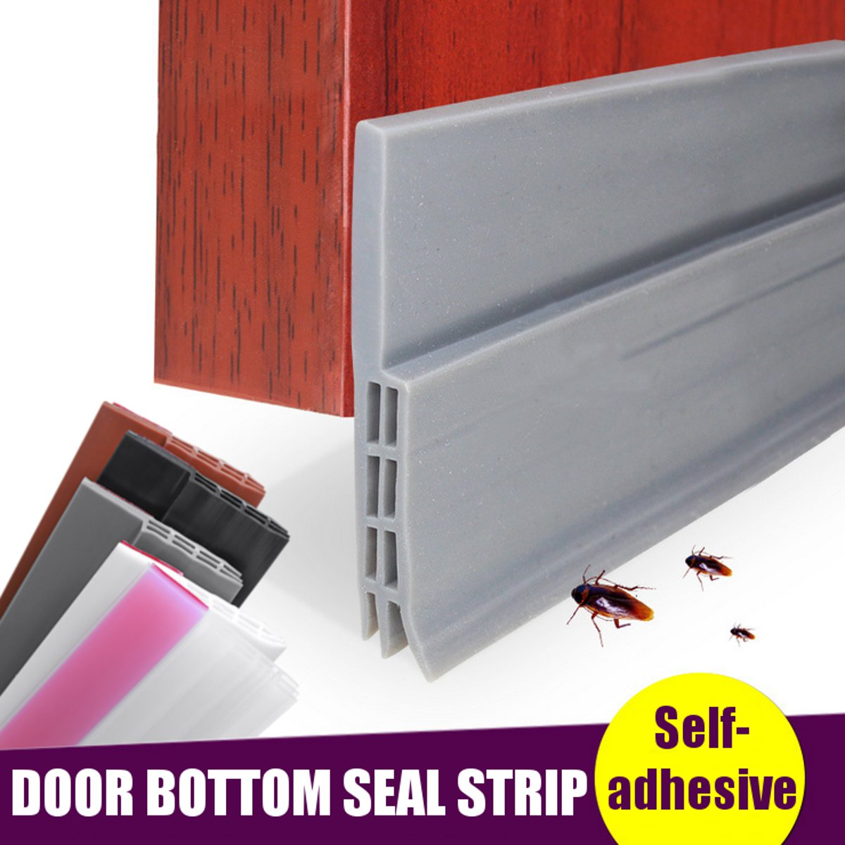 Rubber Self-adhesive Door Bottom Sealing Strip Bedroom Soundproof Windproof Sealer Guard Stopper Furniture Accessories 5 Colors