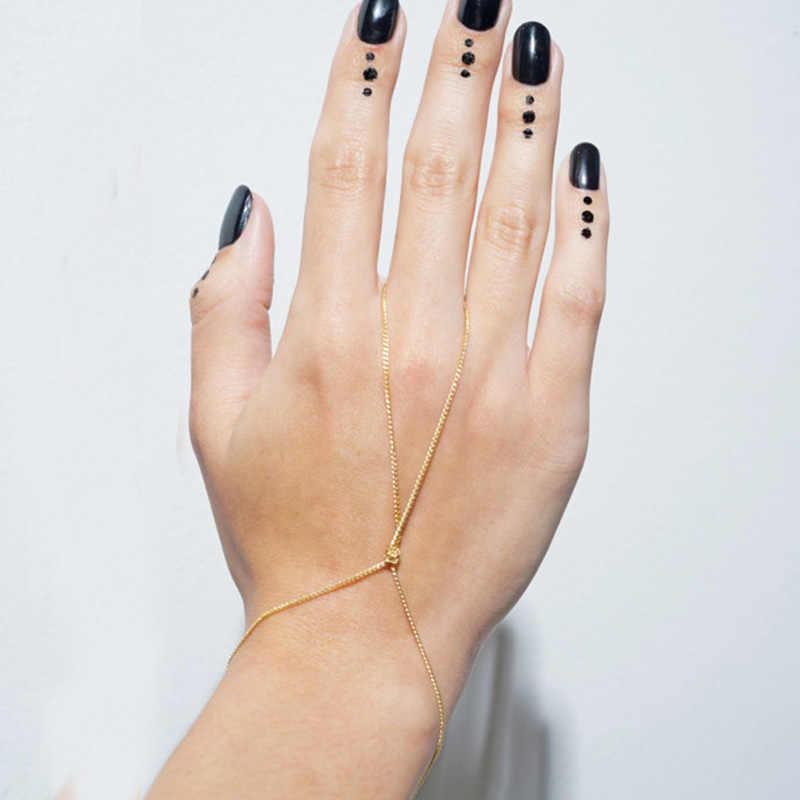JINSE ファッションスタイルゴールド/シルバースレーブチェーンリンクフィンガーハーネス女性ガール結びのチェーン流行トーンブレスレット HC004