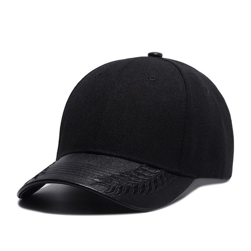 High Quality Summer Hats For Women Black Baseball Cap Men PU Leather Brim Bone Snapback Hip Hop Cap For Men Casquette