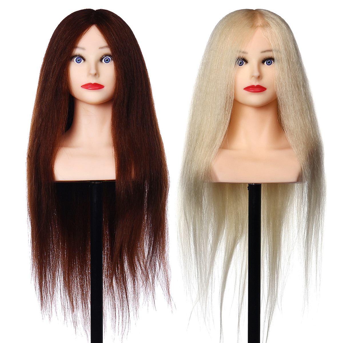 Tête de Mannequin de coiffure avec 90% cheveux humains naturels pour les coiffeurs de coiffures tête d'entraînement de pratique de friser 26 pouces