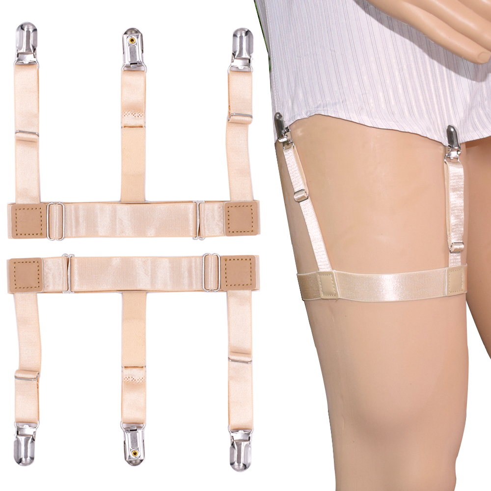 Shirt Stays For Women Men Formal Wear Mens Adjustable Elastic Shirt Holders Straps Garters Leg Suspenders Skin Color
