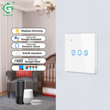go google GO OCEAN WIFI Dimmer 300W Light Switch Touch Voice Control Smart Wall Switch Timing Amazon Alexa Google Home Dimmable Bulb Lamps