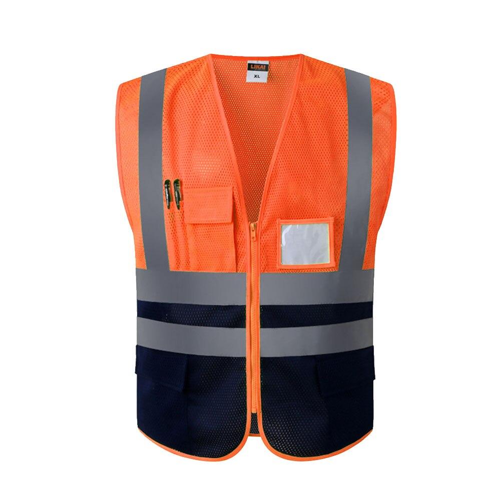 Reflective Strip Working Safety Vest Adjustable Warning Mesh Cloth Construction Adult Protective Night Running Multi Pocket