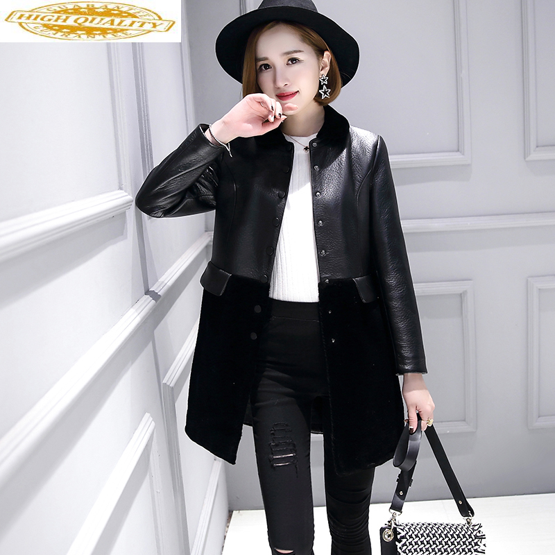Sheepskin Leather Jacket Women Autumn Winter Coat Female Long Sheep Shearling Coat Women's Jackets Chaqueta Mujer KJ705