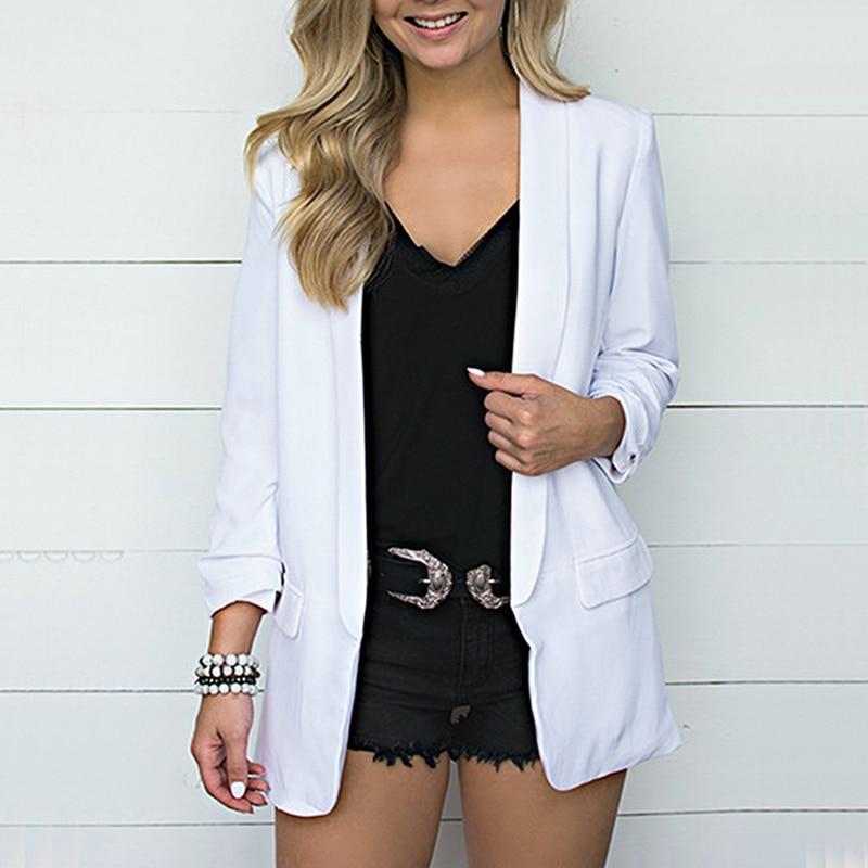 OEAK  Autumn Chiffon Blazer Woman Suit Jacket Fashion Long Sleeve Loose Casual Solid Coat Office Lady Basic Jacket