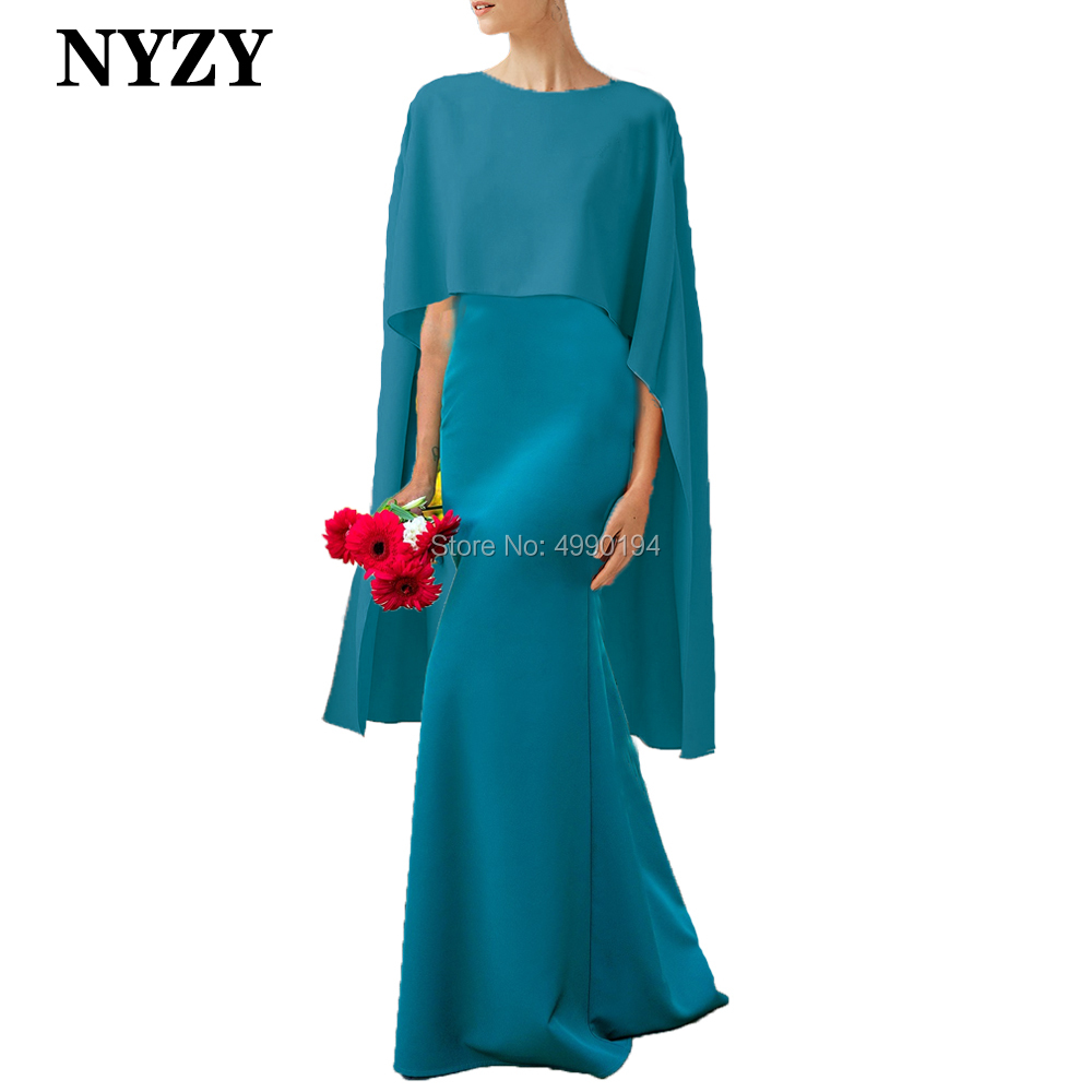 Elegant Stretch Jersey Cap Sleeves Long Mother Of The Bride Groom Dresses 2020 NYZY M274 Mermaid Formal Evening Gown