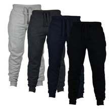 Мужские джоггеры однотонные плюшевые плотные теплые брюки с